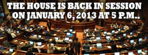 The House Is Back in Session on January 6, 2013 at 5 P.M.